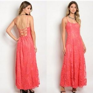 Soiblu Corset Back Lace Overlay Coral Maxi Dress